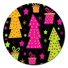 Colorful Xmas Magnet 5  (Round)