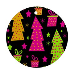 Colorful Xmas Round Ornament (Two Sides)