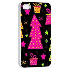 Colorful Xmas Apple iPhone 4/4s Seamless Case (White)