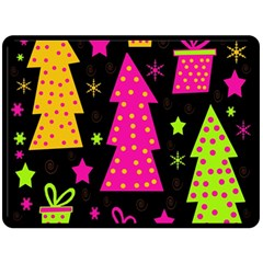 Colorful Xmas Double Sided Fleece Blanket (Large)