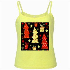 Red playful Xmas Yellow Spaghetti Tank