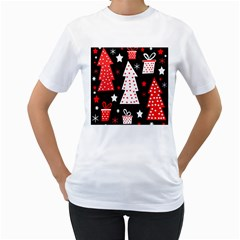 Red playful Xmas Women s T-Shirt (White) (Two Sided)