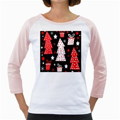 Red playful Xmas Girly Raglans