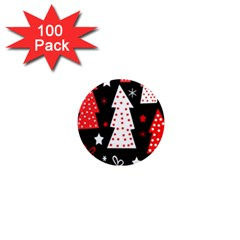 Red playful Xmas 1  Mini Magnets (100 pack)