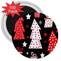 Red playful Xmas 3  Magnets (100 pack)