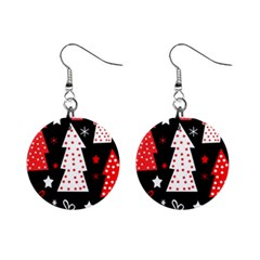 Red playful Xmas Mini Button Earrings
