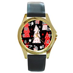 Red playful Xmas Round Gold Metal Watch
