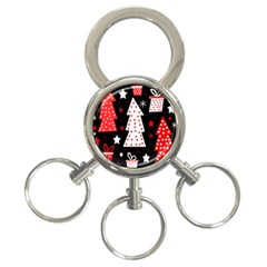 Red playful Xmas 3-Ring Key Chains