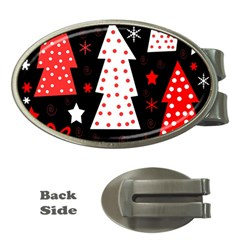 Red playful Xmas Money Clips (Oval)