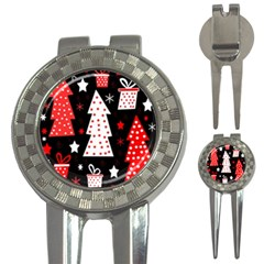 Red playful Xmas 3-in-1 Golf Divots
