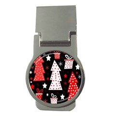 Red playful Xmas Money Clips (Round)