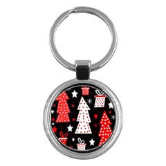 Red playful Xmas Key Chains (Round)