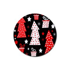 Red playful Xmas Rubber Coaster (Round)