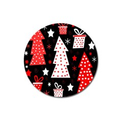 Red playful Xmas Magnet 3  (Round)
