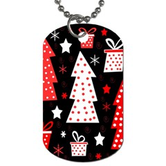 Red playful Xmas Dog Tag (Two Sides)