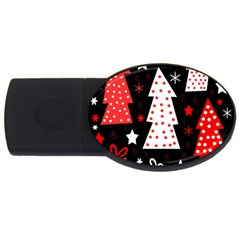 Red playful Xmas USB Flash Drive Oval (2 GB)