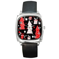 Red playful Xmas Square Metal Watch