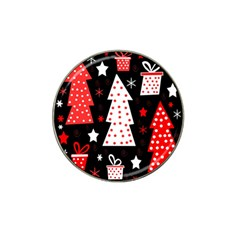 Red playful Xmas Hat Clip Ball Marker (4 pack)