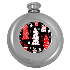 Red playful Xmas Round Hip Flask (5 oz)
