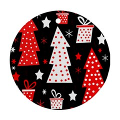 Red playful Xmas Round Ornament (Two Sides)