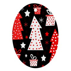 Red playful Xmas Oval Ornament (Two Sides)