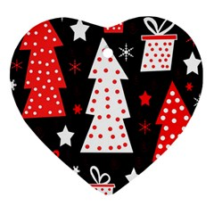 Red playful Xmas Heart Ornament (2 Sides)