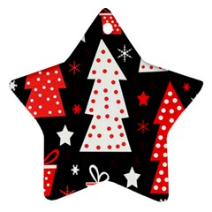 Red playful Xmas Star Ornament (Two Sides)