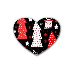 Red playful Xmas Rubber Coaster (Heart)