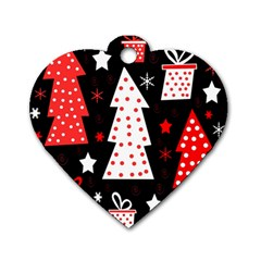 Red playful Xmas Dog Tag Heart (One Side)