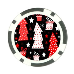 Red playful Xmas Poker Chip Card Guards (10 pack)