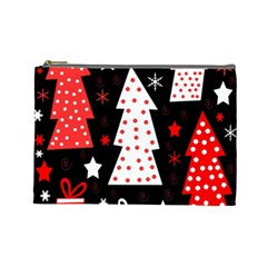 Red playful Xmas Cosmetic Bag (Large)