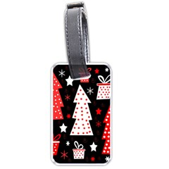 Red playful Xmas Luggage Tags (One Side)