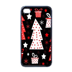 Red playful Xmas Apple iPhone 4 Case (Black)