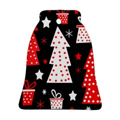 Red playful Xmas Bell Ornament (2 Sides)