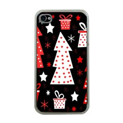 Red playful Xmas Apple iPhone 4 Case (Clear)