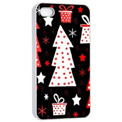 Red playful Xmas Apple iPhone 4/4s Seamless Case (White)