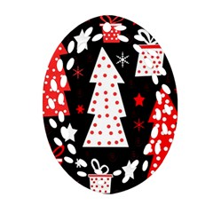 Red playful Xmas Ornament (Oval Filigree)