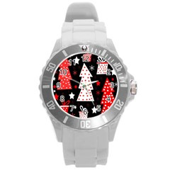 Red playful Xmas Round Plastic Sport Watch (L)