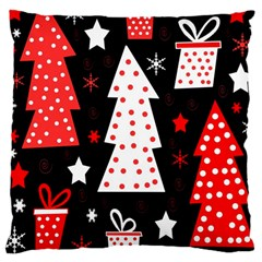 Red playful Xmas Large Cushion Case (Two Sides)