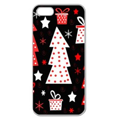 Red playful Xmas Apple Seamless iPhone 5 Case (Clear)