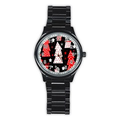Red playful Xmas Stainless Steel Round Watch