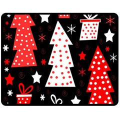 Red playful Xmas Double Sided Fleece Blanket (Medium)