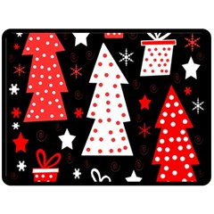 Red playful Xmas Double Sided Fleece Blanket (Large)