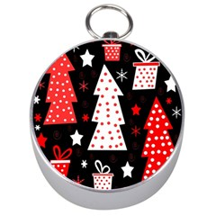 Red playful Xmas Silver Compasses