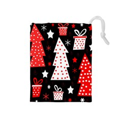 Red playful Xmas Drawstring Pouches (Medium)