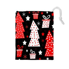 Red playful Xmas Drawstring Pouches (Large)