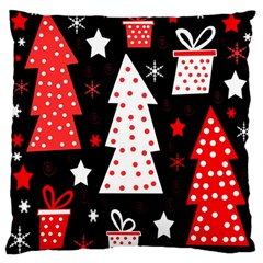 Red playful Xmas Large Flano Cushion Case (Two Sides)