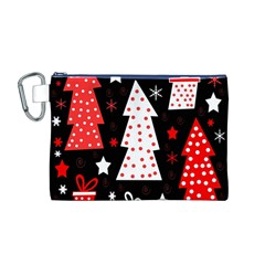 Red playful Xmas Canvas Cosmetic Bag (M)
