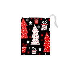 Red playful Xmas Drawstring Pouches (XS)