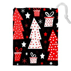 Red playful Xmas Drawstring Pouches (XXL)